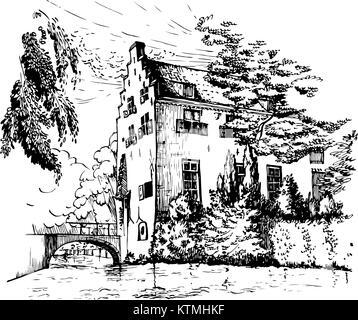 Vektor historisches Haus Tinnenburg auf Muurhuizen (Wand Häuser) Straße in der Altstadt von Amersfoort, Niederlande. - Stockfoto