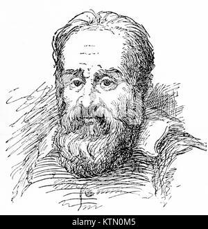 Der Gravur des Galileo Galilei (1564-1642), italienischer Astronom und Physiker. Von einem ursprünglichen Gravur - Stockfoto
