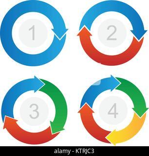 Gebogene Prozessablauf Pfeile Info-Grafik Vektor - Stockfoto