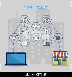 Fintech Industrie Design - Stockfoto