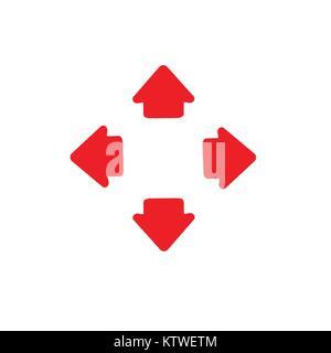 Vier Wege, Pfeile nach links und rechts Richtung gegenüber. Vector Illustration. - Stockfoto