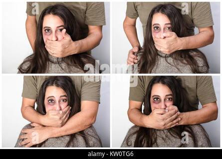 Gewalttätiger Mann zum Schweigen bringen eine Frau in einem Konzept von häuslicher Gewalt gegen Frauen mit vier - Stockfoto