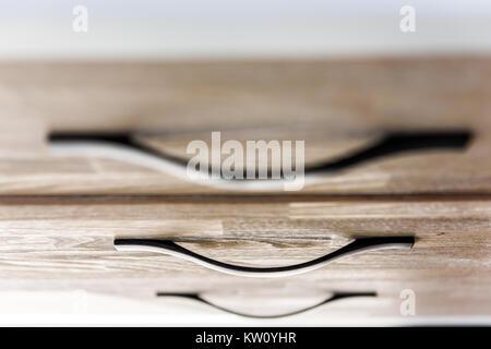 ... Haus Wohnung Modell · Nahaufnahme Des Modernen Hellen Holzmöbeln Brust  Schublade Im Schlafzimmer Mit Natürlichem Licht In Der Inszenierung