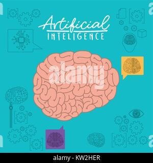 Künstliche Intelligenz Plakat mit Gehirn Seitenansicht in Aquamarine Hintergrund - Stockfoto