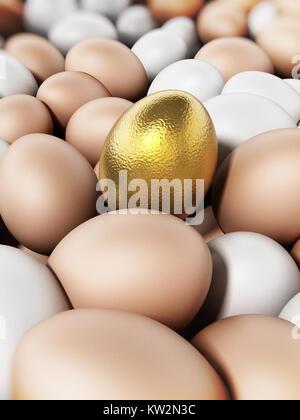 Goldene Ei heraus stehen unter braune und weiße Eier. 3D-Darstellung. - Stockfoto