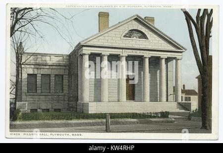 Pilgrim hall Exterior, Plymouth, Massachusetts, USA, 1914. Von der New York Public Library. () - Stockfoto