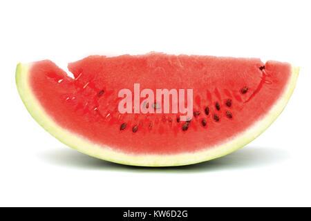 Scheibe Wassermelone auf dem weißen Hintergrund - Stockfoto
