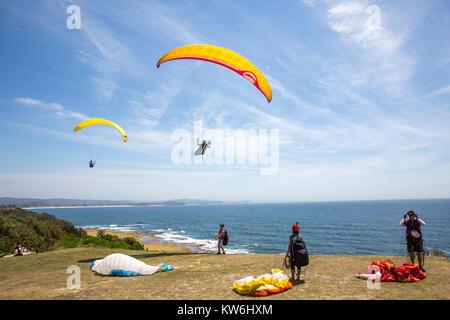 Leute, Paragliding und Drachenfliegen am Long Reef Point, Long Reef aquatische finden, Sydney, Australien - Stockfoto
