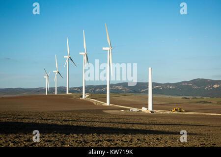 Windkraftanlagen Windkraftanlagen gebaut, in der Nähe von Caños de Meca, Andalusien, Spanien - Stockfoto