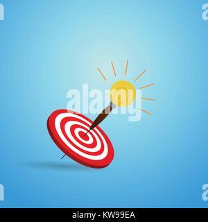 Vector Illustration von Target mit Glühbirne Pfeilsymbol. Perfekte Schuss mit Pfeil in Bullseye des Bogenschießens. - Stockfoto