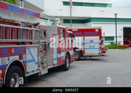 Fire Engine im Fire Station, Miami, Florida, USA - Stockfoto