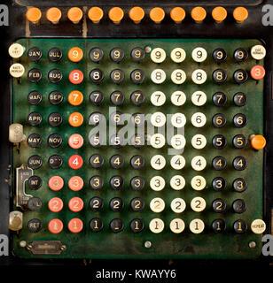 Tastatur des frühen 20. Jahrhunderts Burroughs Maschine hinzufügen ca: 1911-1913 - Stockfoto
