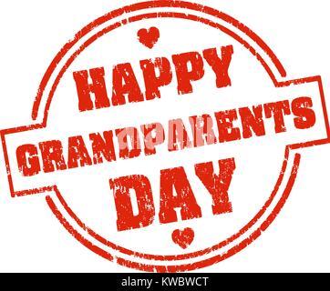 Glückliche Großeltern-Tag rote Grunge style Gummistempel mit Herzen - Stockfoto