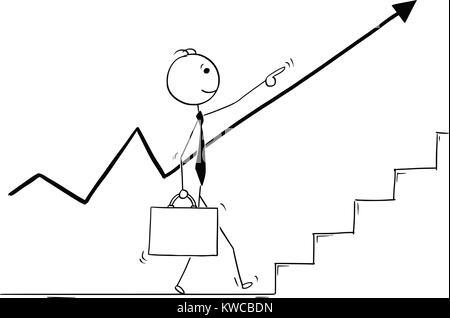 Cartoon stick Mann Zeichnung konzeptuelle Abbildung: Wandern Geschäftsmann nach oben und vorne und nach dem steigenden - Stockfoto