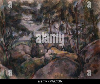 Felsen im Wald, von Paul Cezanne, 1890s French Post-Impressionist Malerei, Öl auf Leinwand. Der Standort dieser - Stockfoto