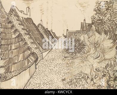 Straße in Saintes-Maries-de-la-Mer, von Vincent Van Gogh, 1888, Dutch Post-Impressionist Zeichnung. Die rohrfeder - Stockfoto
