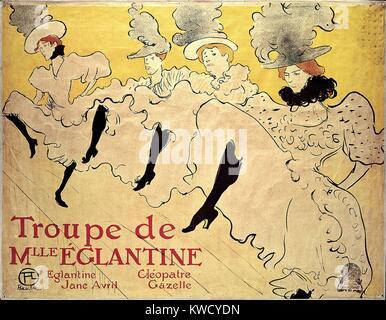 La Troupe de Mademoiselle Eglantine, von Henri de Toulouse-Lautrec 1895, Post-Impressionist drucken. La Troupe de - Stockfoto