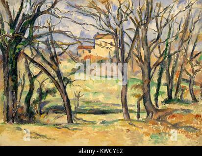 Bäume und Häuser in der Nähe des Jas de Bouffan, von Paul Cezanne, 1885-86, französische Postimpressionismus. Dies - Stockfoto