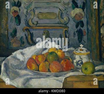 Schale mit Äpfeln, von Paul Cezanne, 1876-77, French Post-Impressionist Malerei, Öl auf Leinwand. Trotzdem war das - Stockfoto