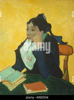 La Berceuse, von Vincent Van Gogh, 1889, Dutch Post-Impressionist, Öl auf Leinwand. Portrait von Augustine Roulin, - Stockfoto
