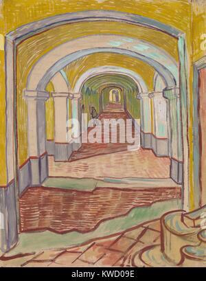 Flur in der Asyl, von Vincent Van Gogh, 1889, Dutch Post-Impressionist Malerei. Dieses Mixed Media Arbeiten von - Stockfoto
