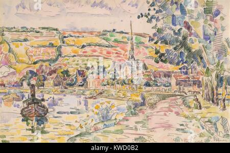 Petit Andely-The River Bank, von Paul Signac, 1920-29, French Post-Impressionist Aquarell Malerei. Dies ist ein - Stockfoto