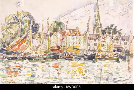 Le Pouliguen: Fischerboote, von Paul Signac, 1928, French Post-Impressionist Aquarell Malerei. Signac hinzugefügt - Stockfoto
