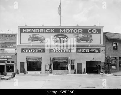 Hendrick Motor Co. in Washington, D.C. in den 1920er Jahren. Sie werben als autorisierter Ford Händler, dass zugelassene - Stockfoto