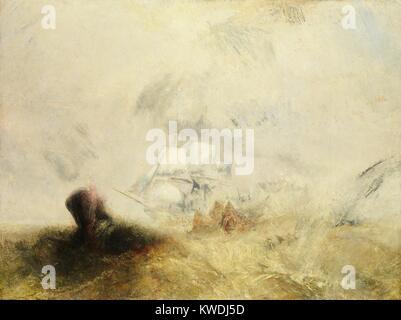Walfänger, von Joseph Mallord William Turner, 1845, British Malerei, Öl auf Leinwand. Turner umhüllt das Prinzip - Stockfoto