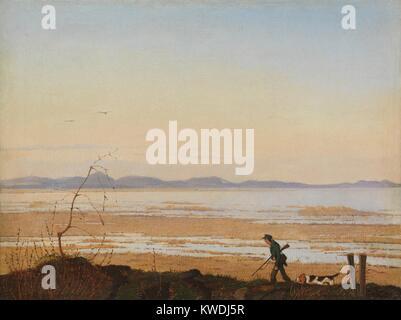 Ein Abend am See ARRESO, von Johan Thomas Lundbye, 1837, der Dänischen Malerei, Öl auf Leinwand. Landschaft der - Stockfoto