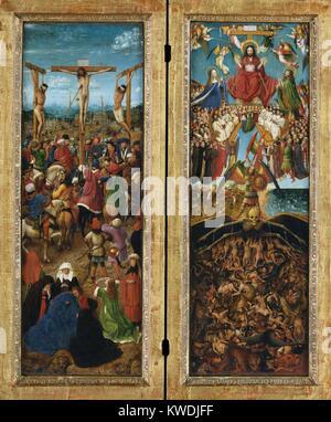 Die Kreuzigung, das Jüngste Gericht, die von Jan van Eyck, 1440-41, Northern Renaissance Malerei. In diesem Meisterwerk - Stockfoto