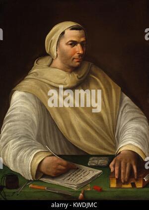 PORTRAIT EINER OLIVETANER Mönch, Tommaso von Baldassare Peruzzi, 1500-36, Öl Gemälde der italienischen Renaissance. - Stockfoto
