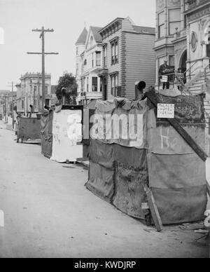Notunterkünfte in Straße nach dem 18. April 1906 San Francisco, Erdbeben und 3-Tag Feuer. Eine handgeschriebene - Stockfoto