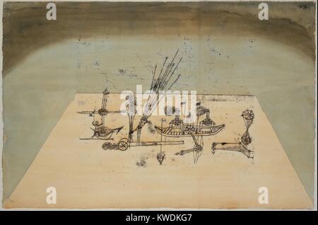 Gelbe Hafen, von Paul Klee, 1921, Schweizer Zeichnung, Aquarell und Tusche auf Papier. Eine Trapezform schlägt eine - Stockfoto