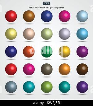 Satz von multicolor Kugel glänzende Kugeln Vector Illustration für Design - Stockfoto