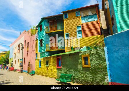 Helle Farben von Caminito, die bunten Straße museum in La Boca in Buenos Aires, Argentinien - Südamerika - Stockfoto