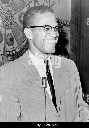Malcolm X, Afrikanisch-muslimische Ministerin und Menschenrechtsaktivist. - Stockfoto