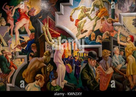Stadt Aktivitäten mit der U-Bahn, Amerika heute, Thomas Hart Benton, 1930-1931, Metropolitan Museum der Kunst, Manhattan, - Stockfoto