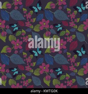 Nahtlose Muster mit Blumen und Schmetterling. Endlose Textur für Ihr Design. - Stockfoto