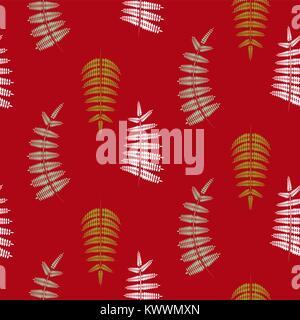 Farn grüne Blätter nahtlose Vektor rot Muster. - Stockfoto