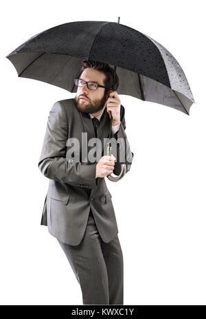 Angst versteckt sich unter dem schwarzen Dach Geschäftsmann - Stockfoto