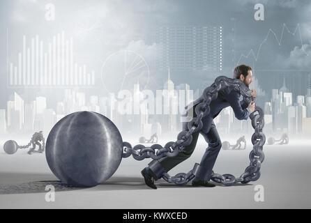 Darstellung präsentiert einen müden Schuldner - Stockfoto