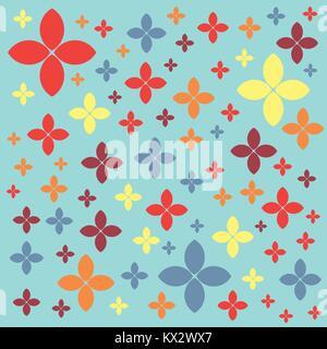 Nahtlose geometrische Muster auf einem grünen Pastelltönen Hintergrund Vektor. Blumen und Blüten. - Stockfoto