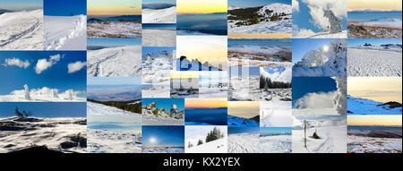 Collage aus verschiedenen Winter Fotos, Seitenverhältnis für soziales Netzwerk cover photo - Stockfoto