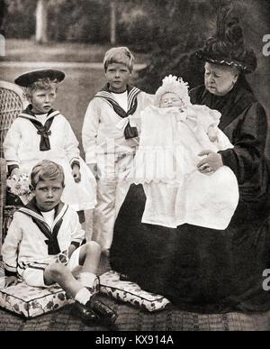 Königin Victoria und ihre große Grand - Kinder, von Links nach Rechts, Prinz Albert (zukünftige George VI), Prinzessin - Stockfoto