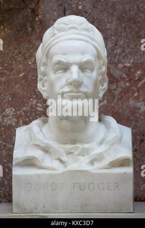 Deutsche Kaufmann Jakob Fugger. Marmorbüste von deutschen Bildhauer Hans Ladner (1967) in die Hall of Fame in der - Stockfoto