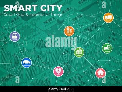 Smart City Line Zeichnung Abbildung mit verschiedenen technologischen Ikonen, futuristische Stadtlandschaft und - Stockfoto