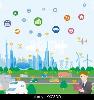 Smart City konzeptionelle Darstellung mit verschiedenen technologischen Ikonen, futuristische Stadtlandschaft und - Stockfoto