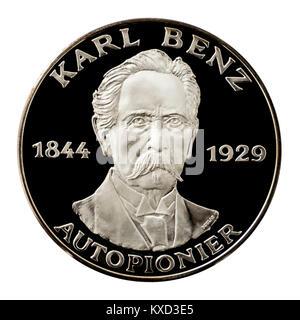99,9% Beweis Silber Medaillon mit Karl Benz, der berühmten deutschen Fachblatts Pionier. - Stockfoto
