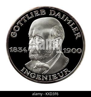 99,9% Beweis Silber Medaillon, Gottlieb Wilhelm Daimler (1834-1900), der Begründer der Daimler Motoren Gesellschaft - Stockfoto